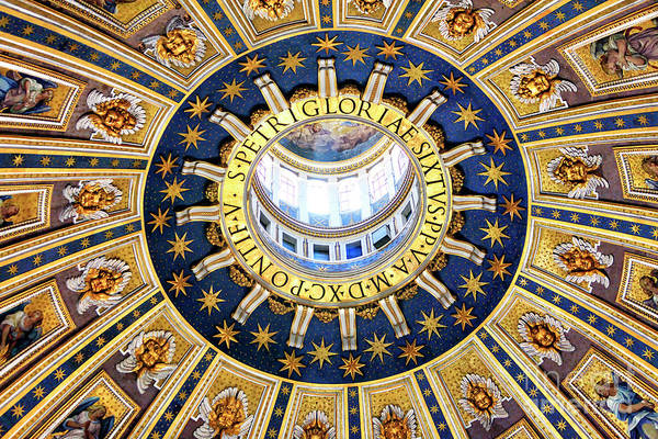 Photograph - Saint Peter's Basilica Dome In Vatican City by John Rizzuto