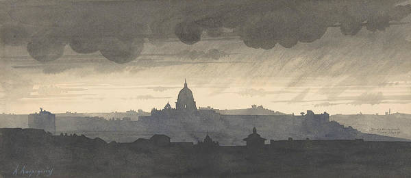 Drawing - Saint Peter's Seen From The Pincio, Rome by Henri Harpignies