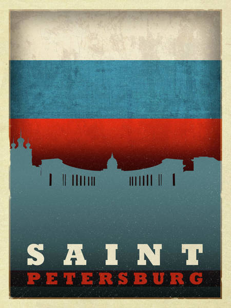 Wall Art - Mixed Media - Saint Petersburg City Skyline Flag by Design Turnpike