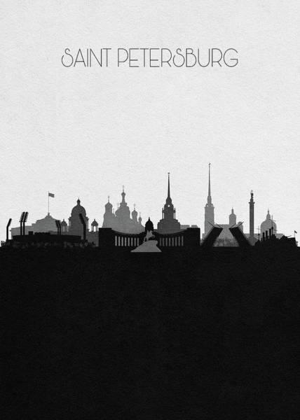 Souvenir Digital Art - Saint Petersburg Cityscape Art by Inspirowl Design