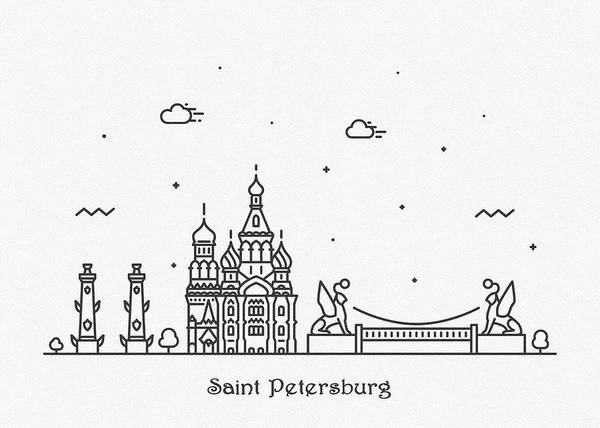 Drawing - Saint Petersburg Cityscape Travel Poster by Inspirowl Design