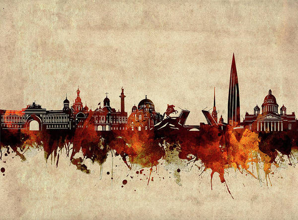 Wall Art - Digital Art - Saint Petersburg Skyline Sepia by Bekim M