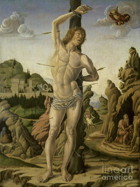 Wall Art - Painting - Saint Sebastian In A Rocky Landscape With Saints Jerome, Anthony Abbot And Christopher by Marco Zoppo