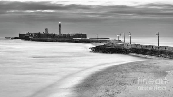 Photograph - Saint Sebastian Lighhouse And Castle Cadiz Spain Black And White by Pablo Avanzini