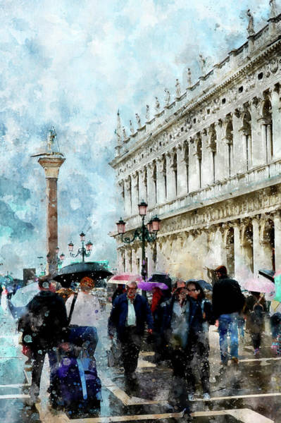 Digital Art - Saint Theodore Sculpture At Saint Mark Square In Venice, Italy - Watercolor Effect by Fine Art Photography Prints By Eduardo Accorinti