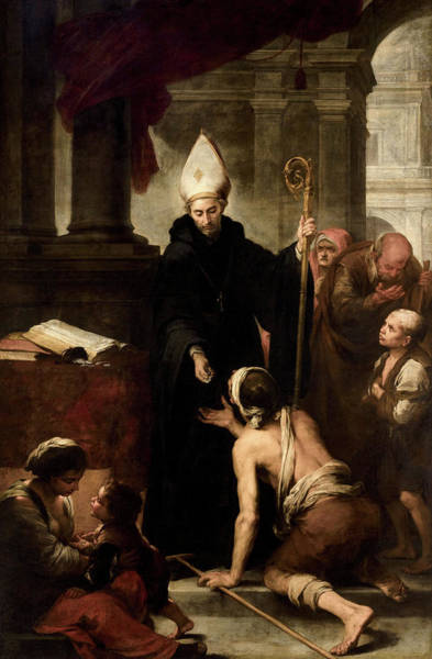 Virtue Painting - Saint Thomas Of Villanueva Giving Alms To The Poor, 1669 by Bartolome Esteban Murillo