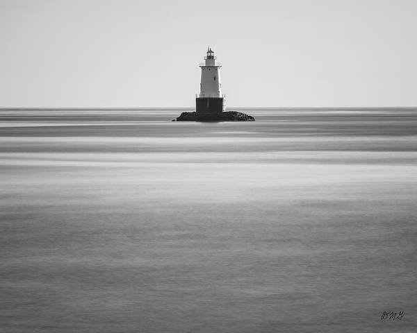 Photograph - Sakonnet Point Lighthouse Little Compton Ri Bw by David Gordon