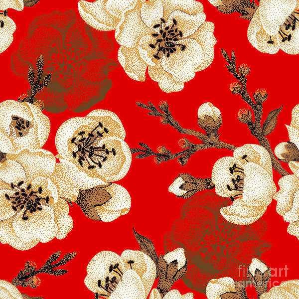 Victorian Garden Wall Art - Digital Art - Sakura Branch On Red Background. Vector by Mamita