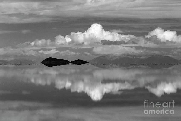 Photograph - Salar De Uyuni Cloudscape In Black And White Bolivia by James Brunker