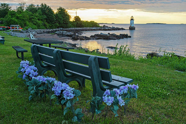 Photograph - Salem Ma Flower Bench Winter Island Pickering Light Sunrise by Toby McGuire