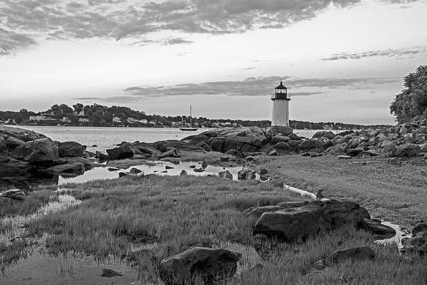 Photograph - Salem Ma Winter Island Fort Pickering Light Morning Light Black And White by Toby McGuire