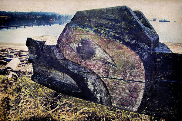 Photograph - Salish Native Carving Of Bear On Sechelt Waterfront by Peggy Collins