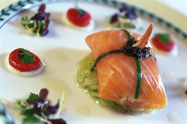 Delicatessen Photograph - Salmon Dish, Hotel Longuevelle, Manor by Martin Kreuzer / Look-foto