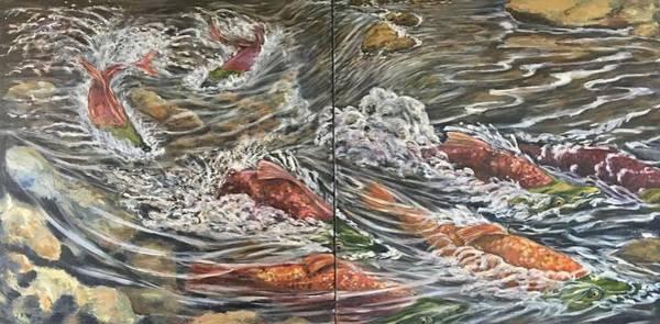 Wall Art - Painting - Salmon Race by Jennifer Kwon