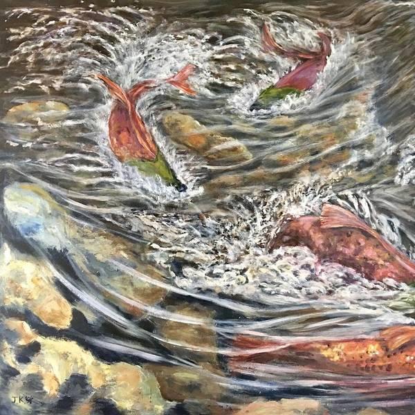 Wall Art - Painting - Salmon Race Part1 by Jennifer Kwon
