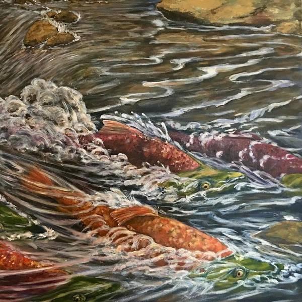 Wall Art - Painting - Salmon Race Part2 by Jennifer Kwon