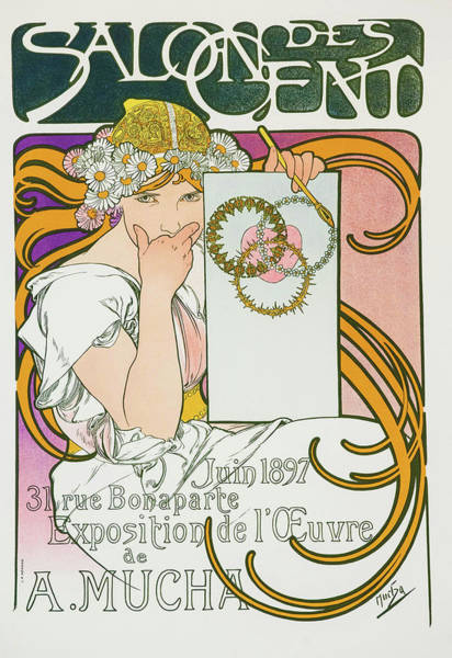 Wall Art - Painting - Salon Des Cend, Mucha Exhibition - Digital Remastered Edition by Alfons Maria Mucha