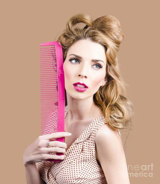 Beauty Salon Photograph - Salon Pin Up Woman With Elegant Hair Style by Jorgo Photography - Wall Art Gallery