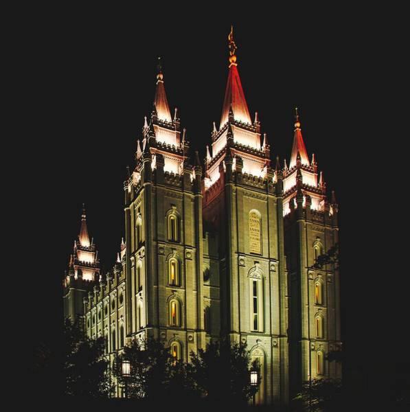 Wall Art - Photograph - Salt Lake City Temple Evening Lights by Pixabay