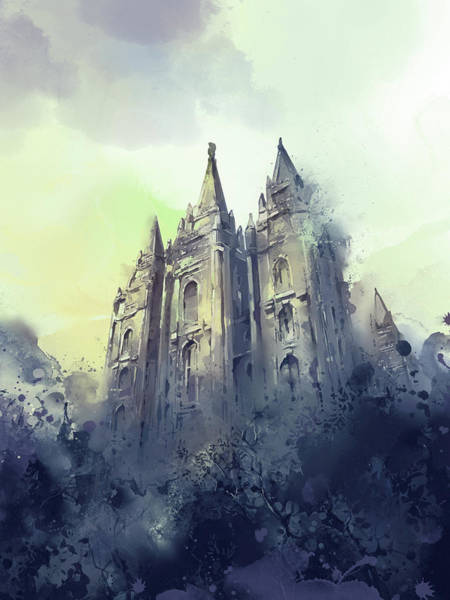 Wall Art - Digital Art - Salt Lake City Temple Watercolor 4 by Bekim M