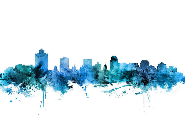 Lake Digital Art - Salt Lake City Utah Skyline by Michael Tompsett