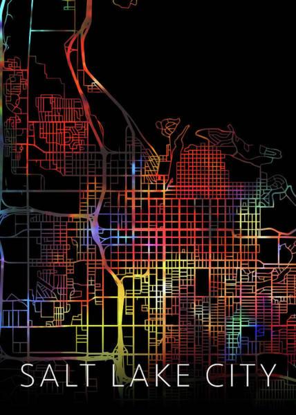 Wall Art - Mixed Media - Salt Lake City Utah Watercolor City Street Map Dark Mode by Design Turnpike