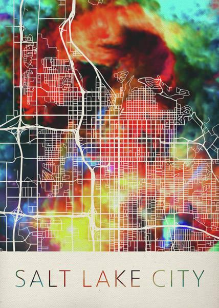 Wall Art - Mixed Media - Salt Lake City Utah Watercolor City Street Map by Design Turnpike