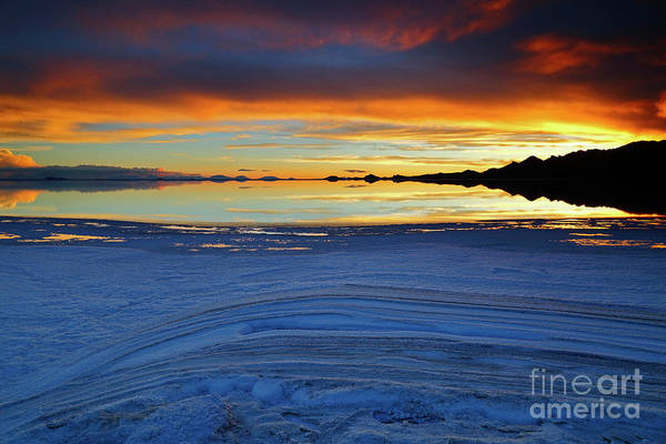 Photograph - Salt Layers At Sunset Salar De Uyuni Bolivia by James Brunker