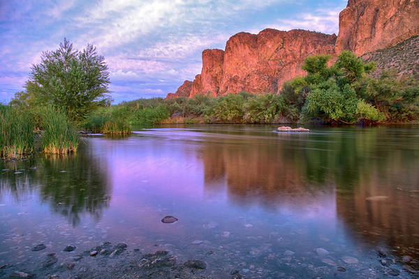 Photograph - Salt River Purple Reflections Wide by Dave Dilli