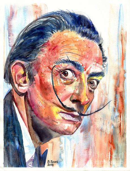 Wall Art - Painting - Salvador Dali Portrait by Suzann Sines