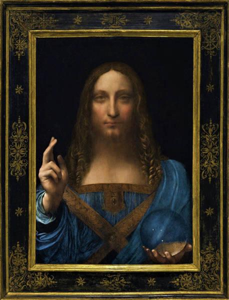 Wall Art - Painting - Salvator Mundi - Digital  Restored Edition by Leonardo da Vinci