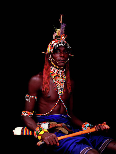 Headwear Photograph - Samburu Moran With Weapons by Harry Hook
