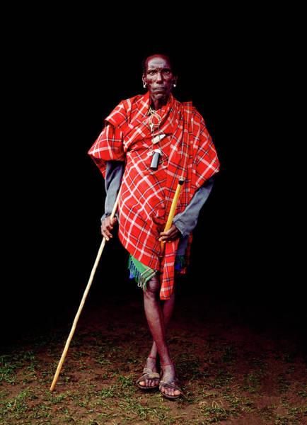Indigenous People Wall Art - Photograph - Samburu Tribal Elder With Stick by Harry Hook