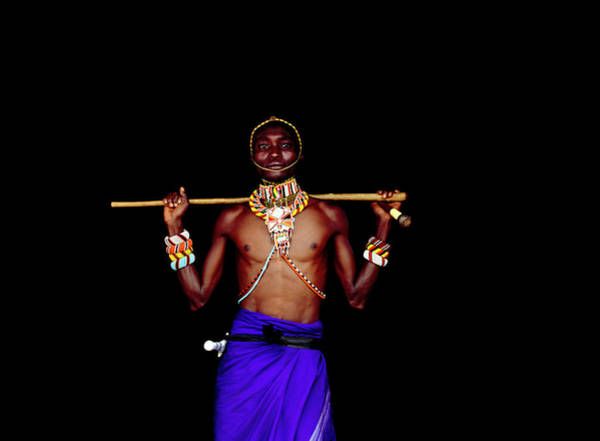 Shirtless Photograph - Samburu Warrior In Traditional Dress by Harry Hook