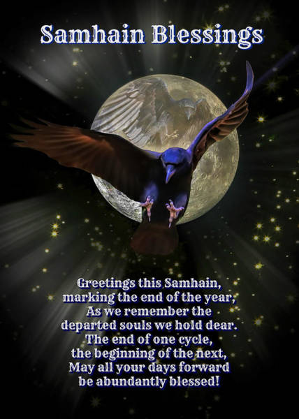 Wicca Photograph - Samhain Blessings Pagan New Year Raven And Moon by Stephanie Laird