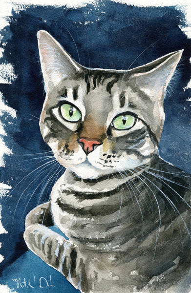 Painting - Sammy Tabby Cat Portrait by Dora Hathazi Mendes