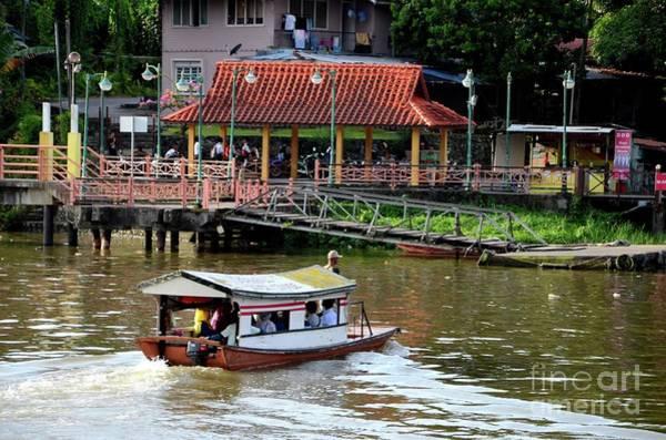 Photograph - Sampan Boat River Ferry Takes Commuters Across Sarawak River Kuching Malaysia by Imran Ahmed