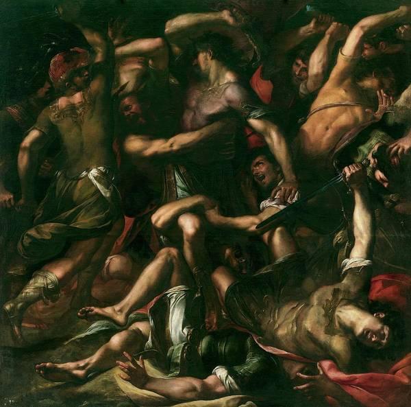 Procaccini Painting - 'samson And The Philistines', Ca. 1625, Italian School, Oil On Canvas... by Giulio Cesare Procaccini -c 1570-1625-