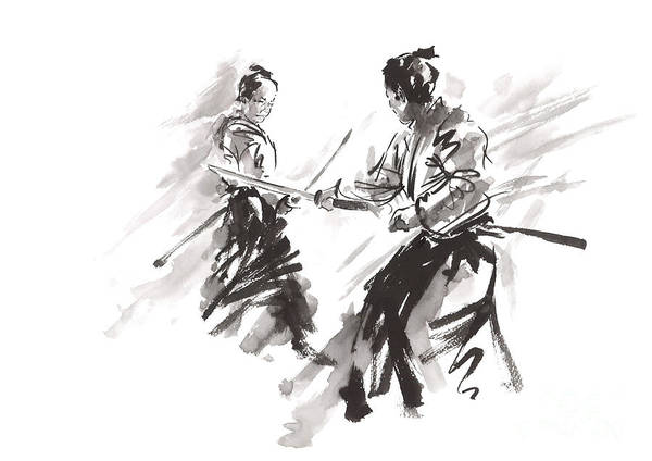Wall Art - Painting - Samurai Matrial Arts Katana Poster  Japanese Warrior Sword Flight by Mariusz Szmerdt