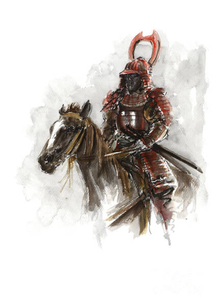Wall Art - Painting - Samurai Poster Horse Painting Japanese Art by Mariusz Szmerdt