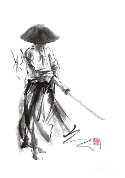 Wall Art - Painting - Samurai Warrior Ronon Japanese Katana Bushido Kode by Mariusz Szmerdt