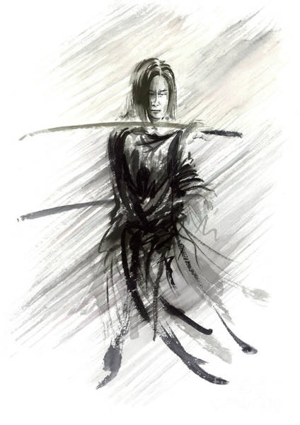 Wall Art - Painting - Samurai With Sword Ronin Japanese Katana by Mariusz Szmerdt