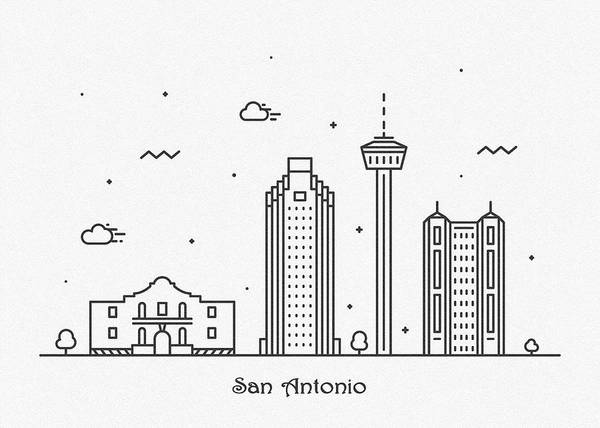 Drawing - San Antonio Cityscape Travel Poster by Inspirowl Design