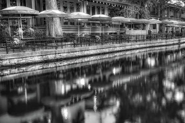 Photograph - San Antonio Riverwalk Umbrella Reflections - Monochrome Edition by Gregory Ballos
