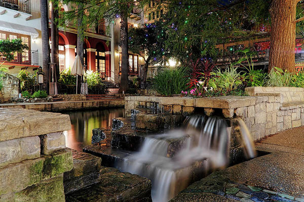 Photograph - San Antonio Riverwalk Waterfall - Christmas - Texas by Jason Politte