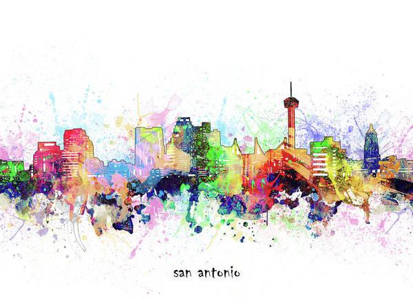 Wall Art - Digital Art - San Antonio Skyline Artistic by Bekim M