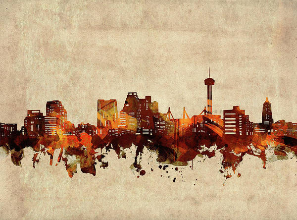 Wall Art - Digital Art - San Antonio Skyline Sepia by Bekim M