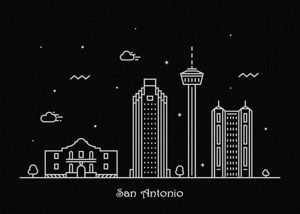 Wall Art - Drawing - San Antonio Skyline Travel Poster by Inspirowl Design