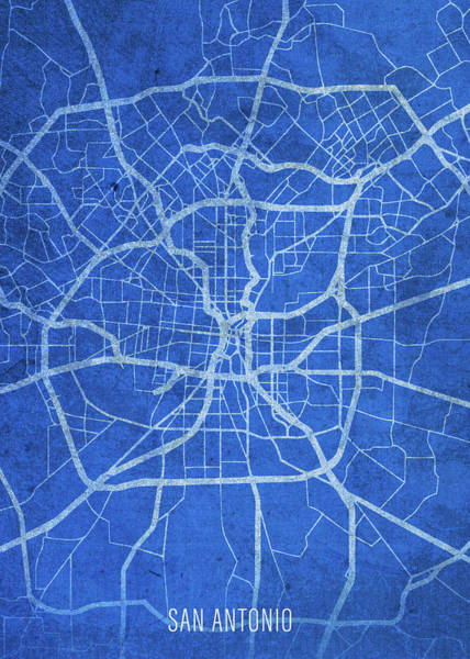 Wall Art - Mixed Media - San Antonio Texas City Street Map Blueprints by Design Turnpike