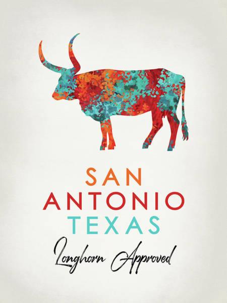 Longhorn Digital Art - San Antonio Texas Colorful Longhorn by Flo Karp